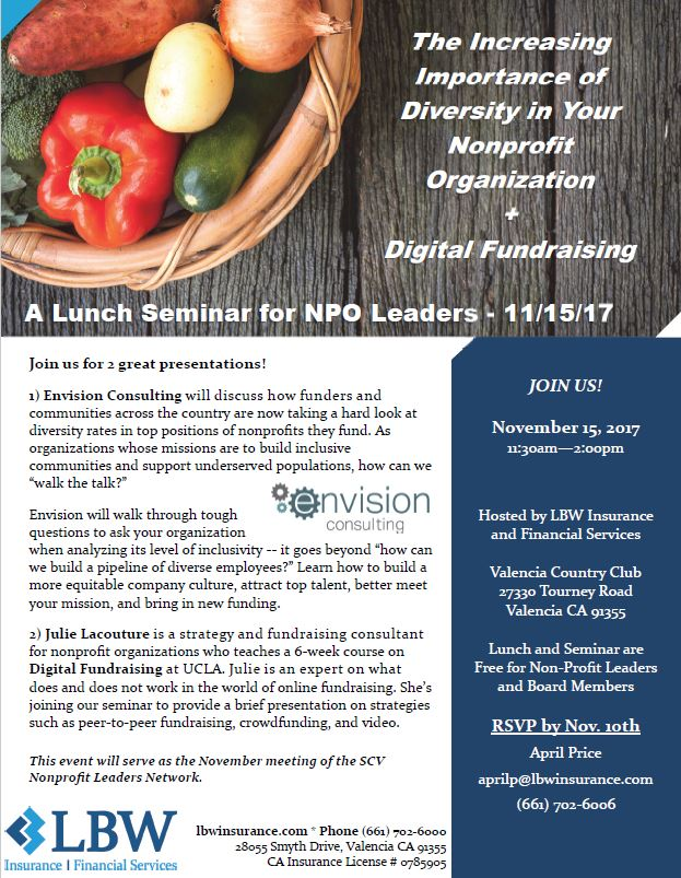 Lunch Seminar for NPO Leaders on November 15, 2017 flyer